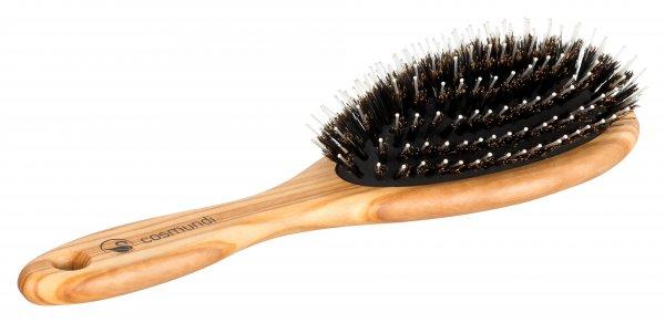 cosmundi Haarbürste aus Olivenholz mit Echthaarborsten und Nylonstiften